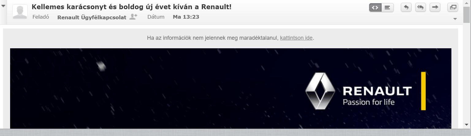 Renault karácsonyi hírlevél